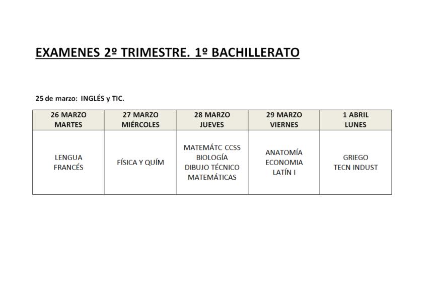 Exámenes 2º Trimestre Bachillerato