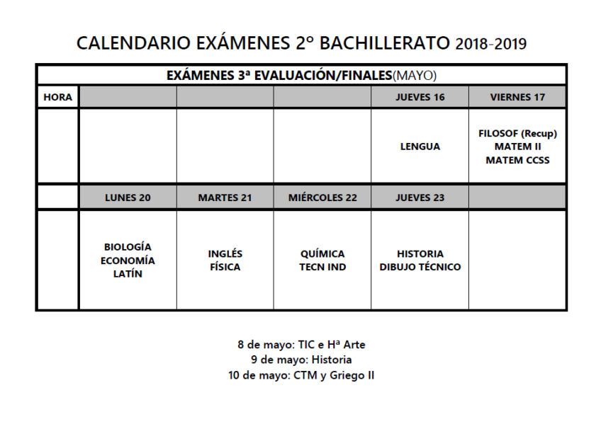Calendario exámenes 2º Bachillerato 2018-19