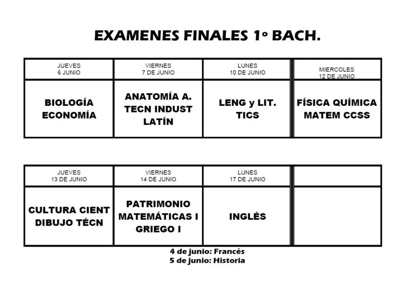 Exámenes finales 1º Bachillerato