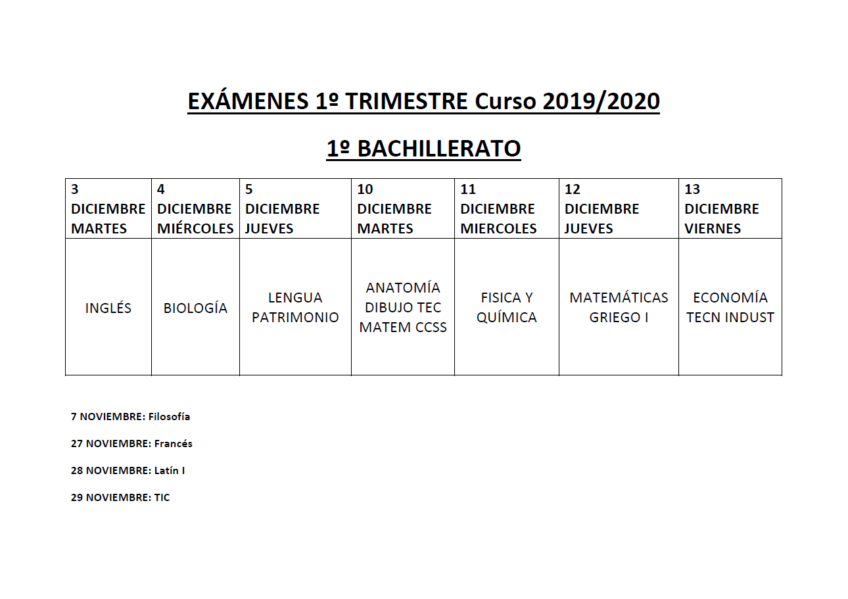 Exámenes bachillerato 1º trimestre