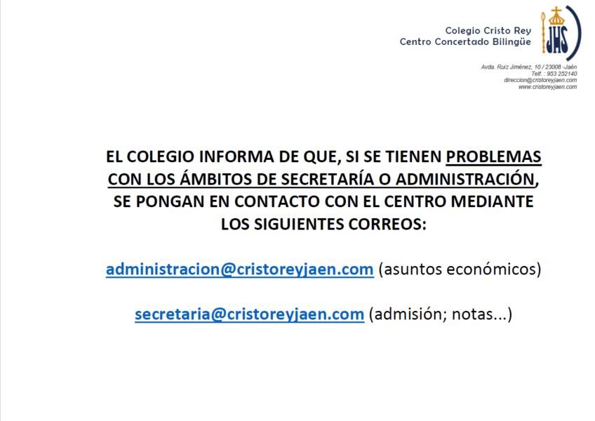 Contacto con secretaría y administración